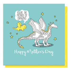 Blue mother's day card featuring an illustration of a mother and baby dragon