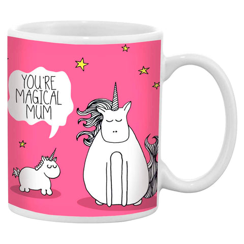 Pink mother's day mug featuring an illustration of a mother and baby unicorn