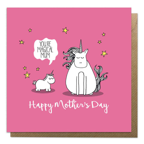 Pink mother's day card featuring and illustration of a mother and baby unicorn