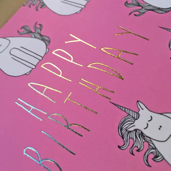 Gold Foil Unicorn Birthday Card - Neon Magpie