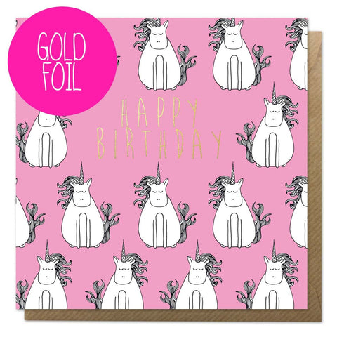 Pink birthday card with unicorn illustrations and gold foil