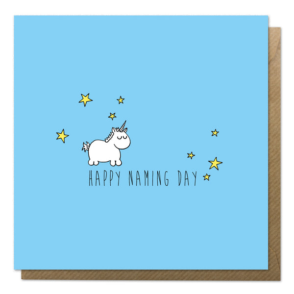 Blue naming day card with an illustration of a baby unicorn