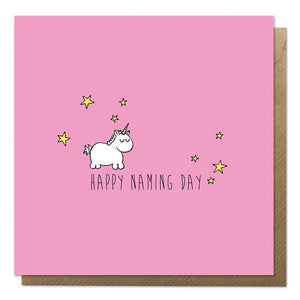 Pink naming day card with an illustration of a baby unicorn