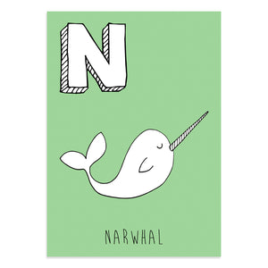 Unicorn postcard featuring N for narwhal