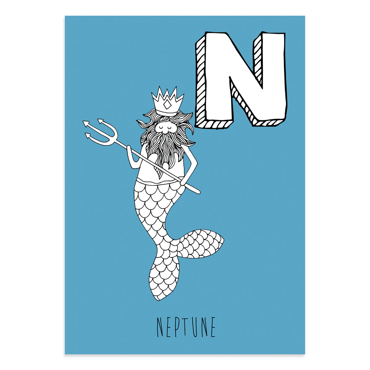 Blue postcard featuring the letter N for neptune