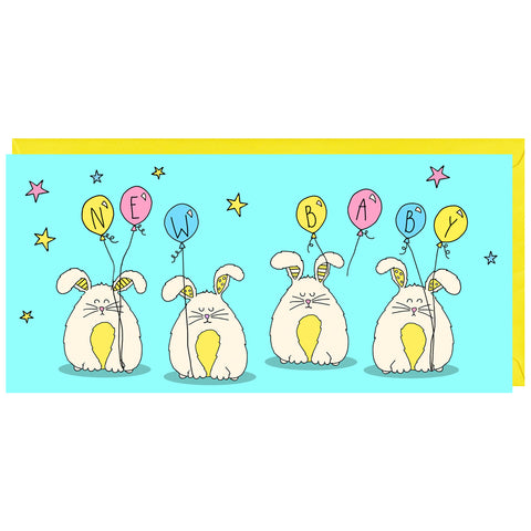 This is a cute card featuring illustrations of a fluffy rabbits to celebrate the birth of a new baby.