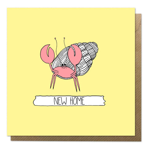 Yellow new home card with an illustration of a hermit crab