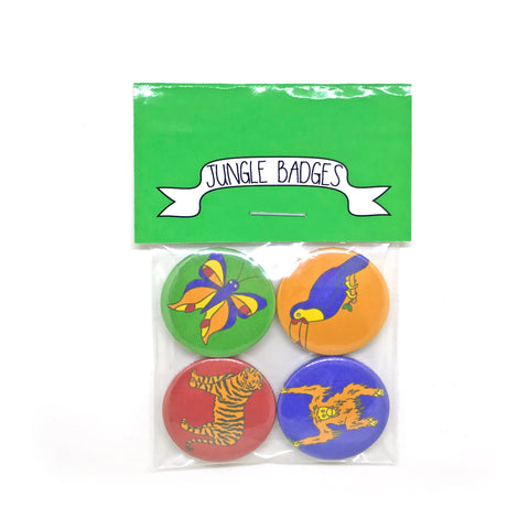 This badge set includes four animal designs; an orangutan, a tiger, a toucan and a butterfly.