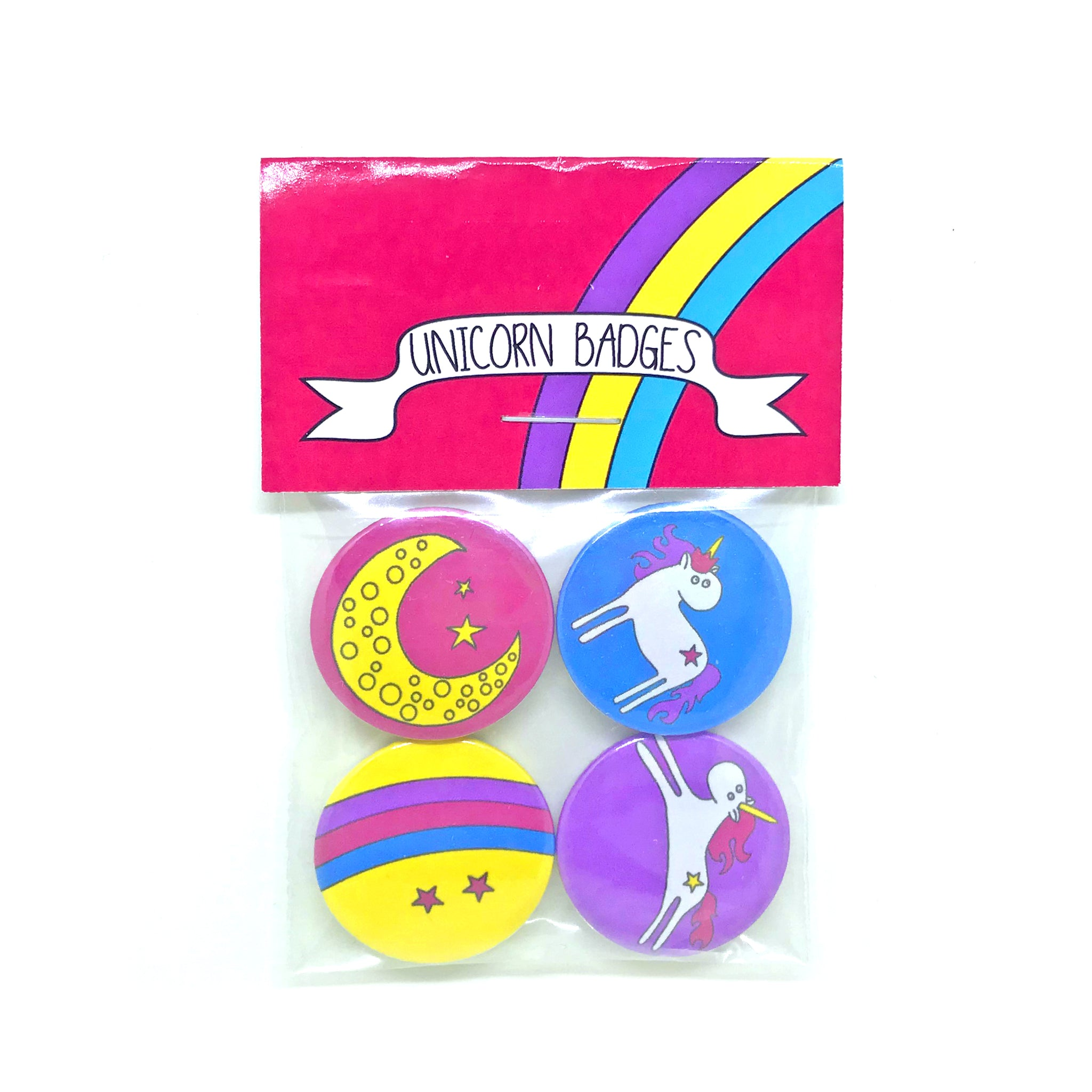 Set of 4 pink, blue, yellow and purple unicorn badges