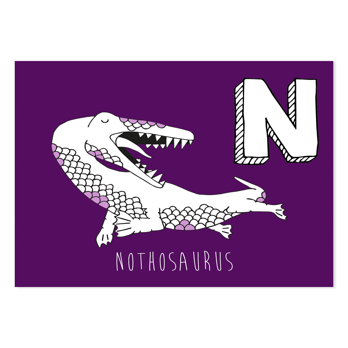 Purple postcard featuring the letter N for nothosaurus