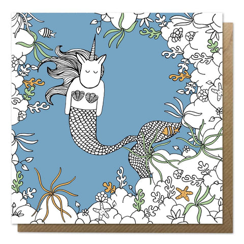 Blue greeting card with an illustration of a mermaid unicorn