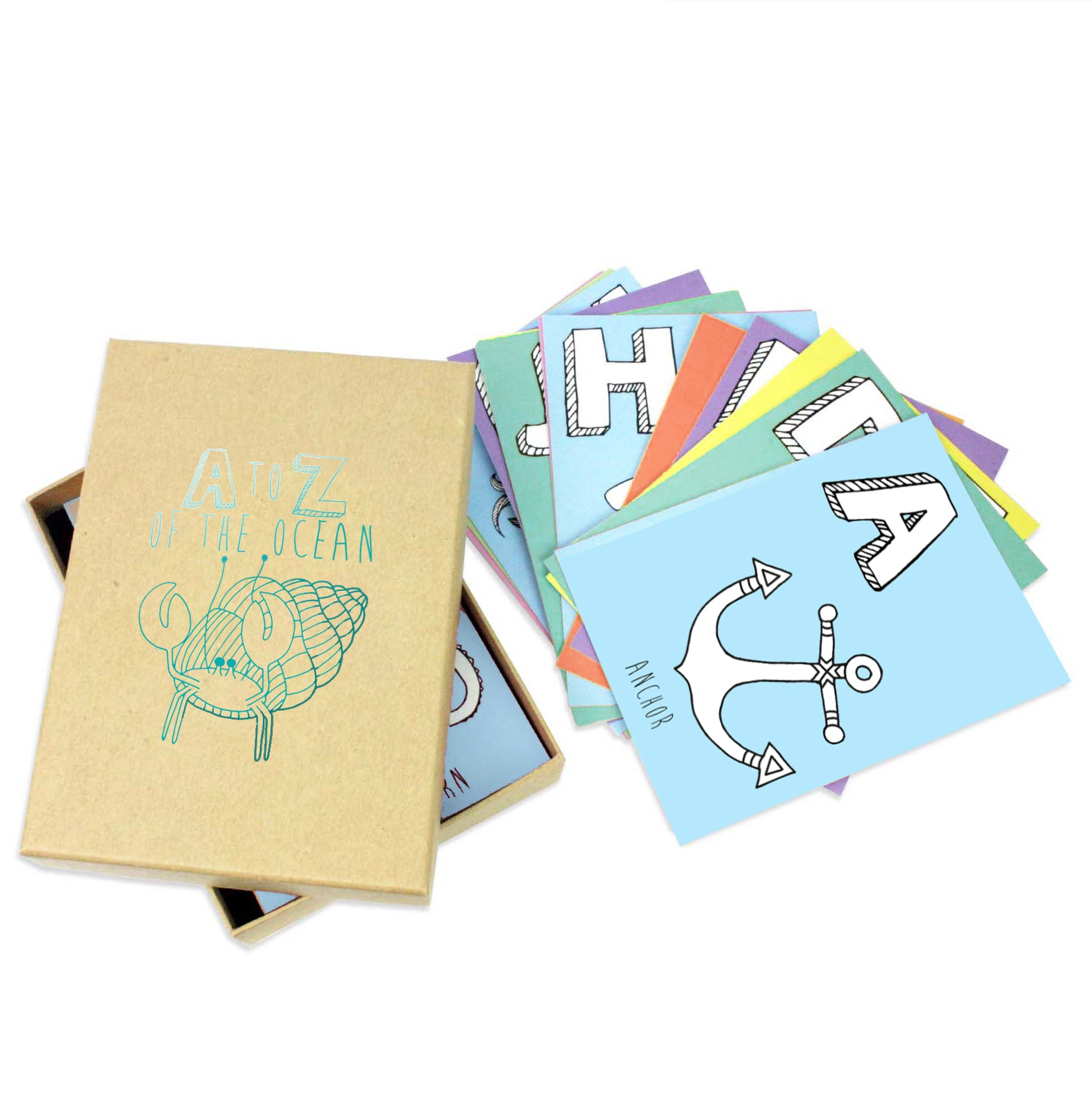 Set of 26 ocean alphabet postcards in a brown box