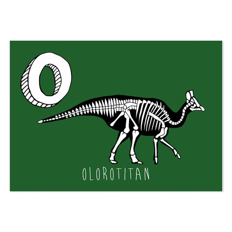 Green postcard featuring the letter O for olorotitan