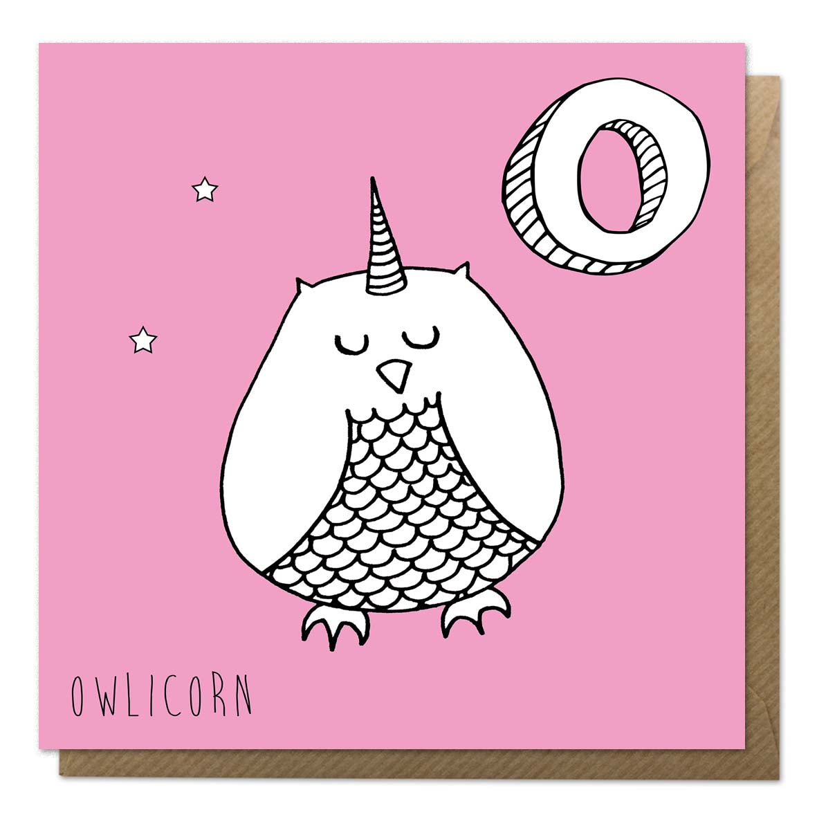 Pink greeting card with an illustration of an owl unicorn