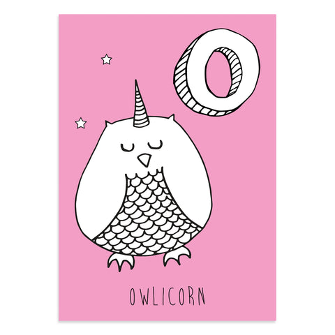 Unicorn postcard featuring the letter O for owlicorn