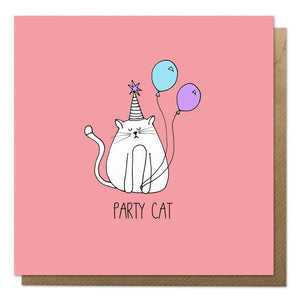 Red greeting card with an illustration of a cat with balloons