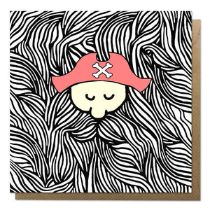 Greeting card with an illustration of a pirate with a giant beard
