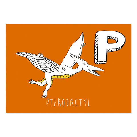 Orange postcard featuring the letter P for pterodactyl