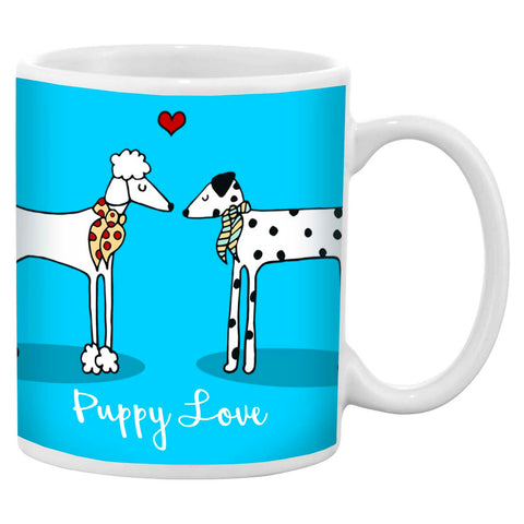 Blue mug with an illustration of a poodle and a dalmatian