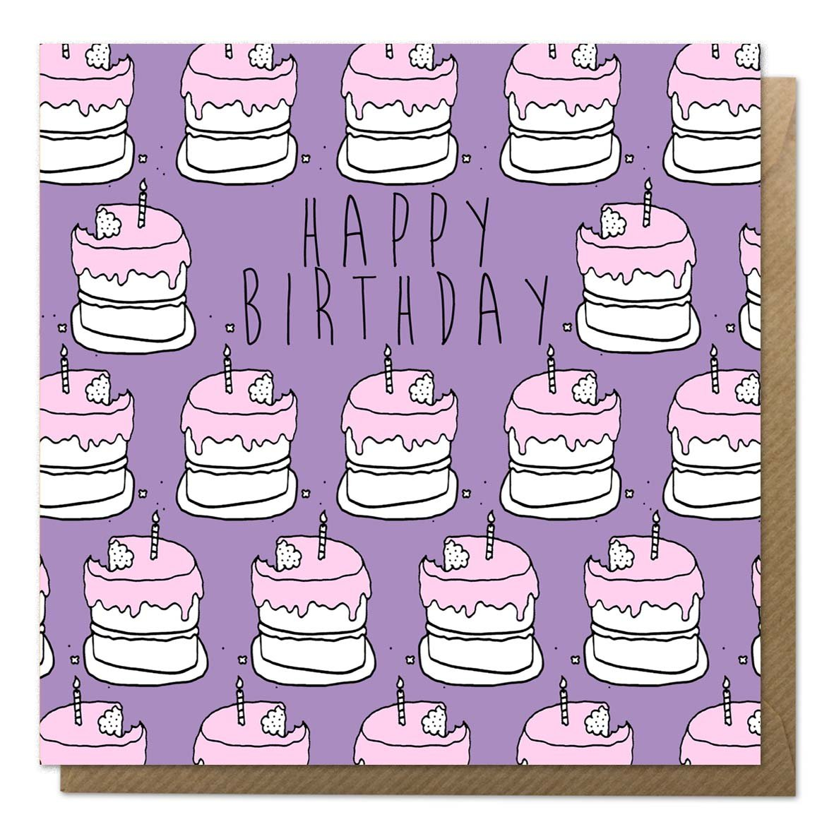 Purple birthday cake card with brown envelope