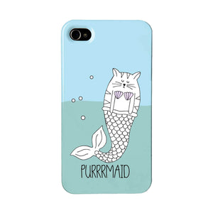 Blue phone case featuring an illustration of a purrmaid - cat mermaid