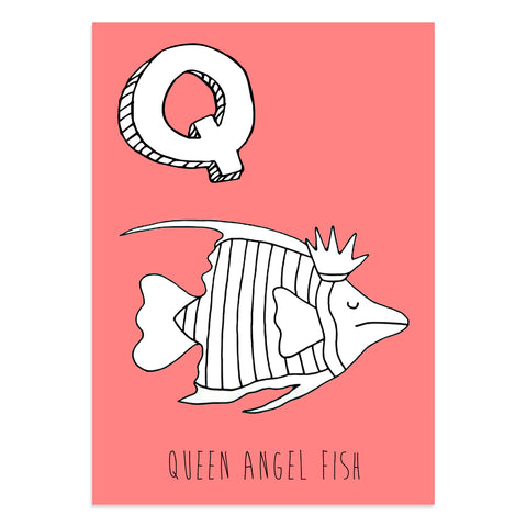 Red postcard featuring an Q for queen lobster fish