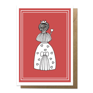 Red greeting card with an illustration of the Queen of Hearts