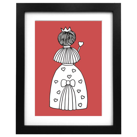 A3 sized, red art print featuring an illustration of the Queen of Hearts