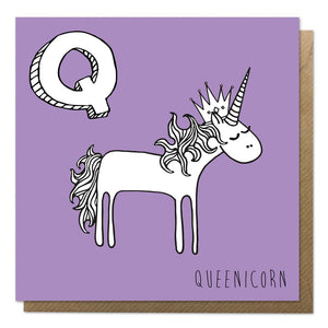 Purple greeting card with an illustration of a unicorn queen