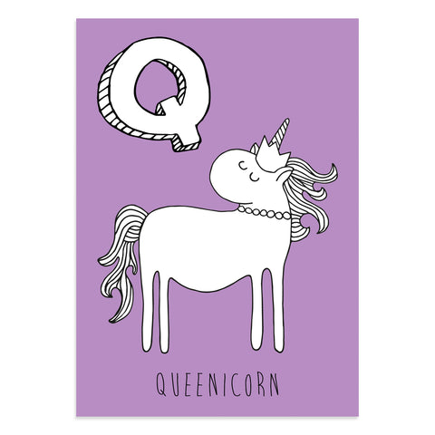 Unicorn postcard featuring the letter Q for queenicorn