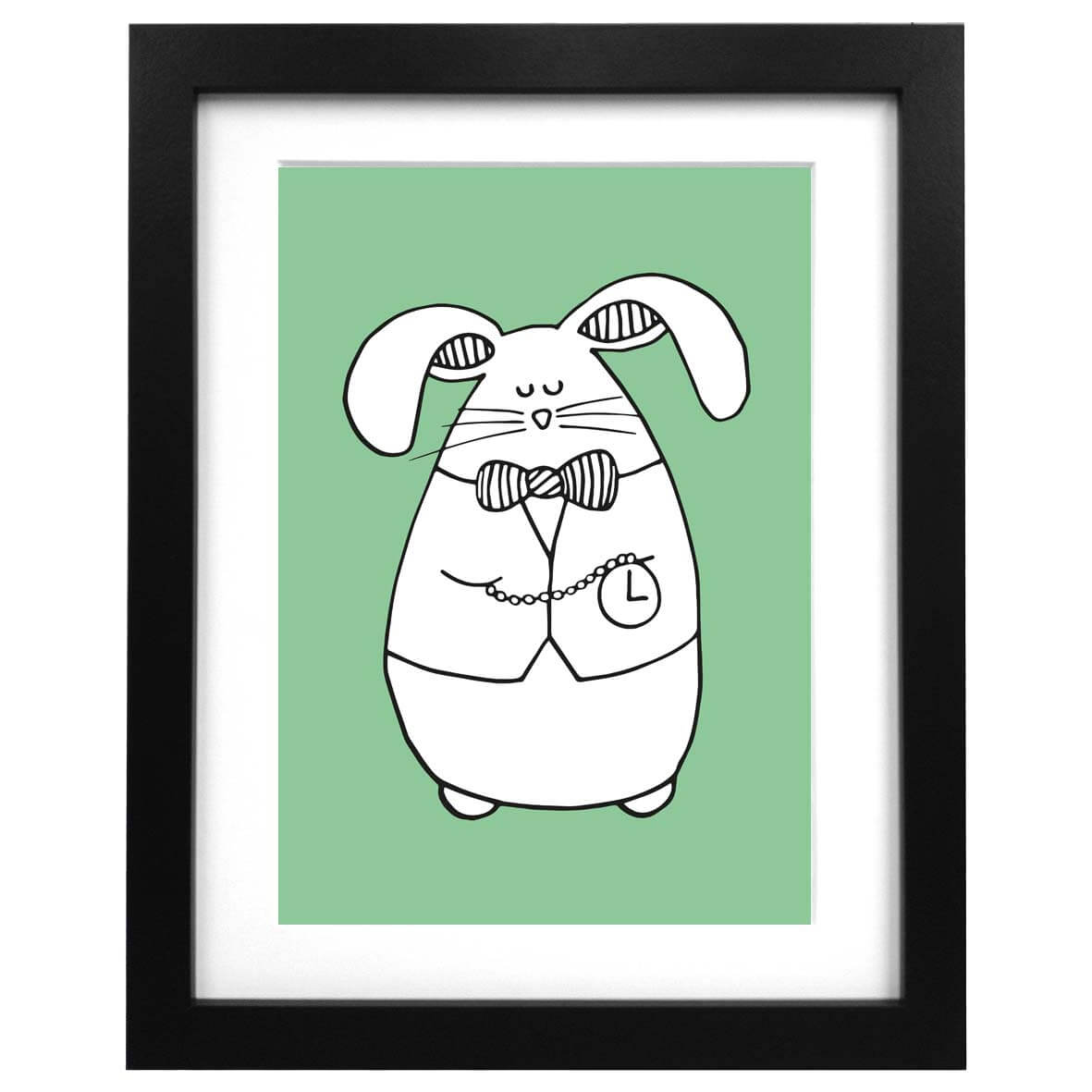 Green A3 sized art print with an illustration of a white rabbit