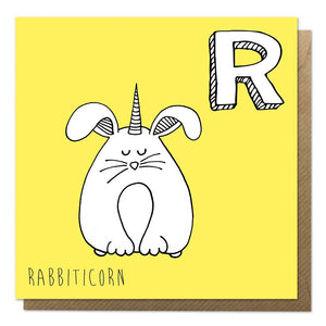 Yellow unicorn alphabet card with an illustration of a rabbit unicorn