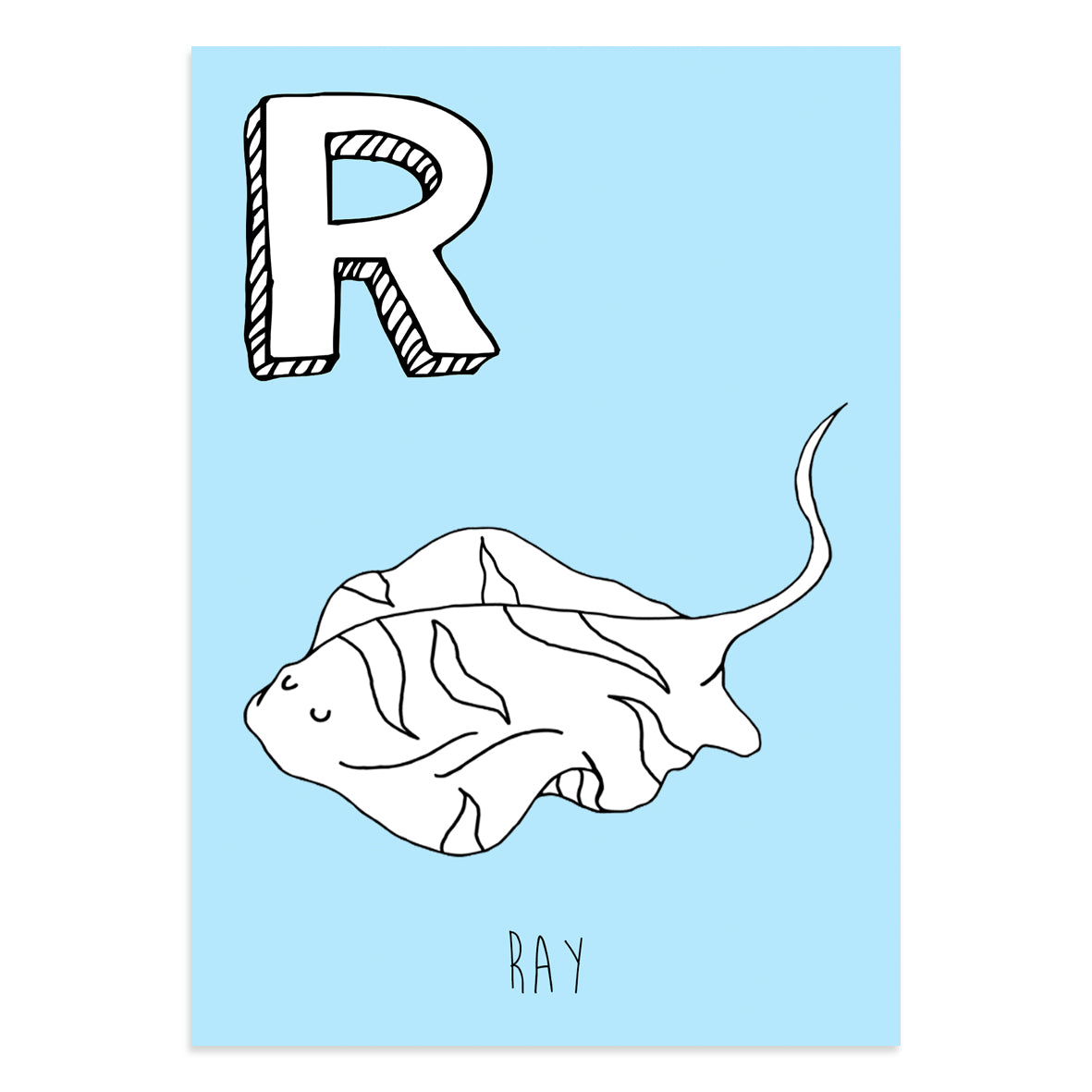 Blue postcard featuring the letter R for ray