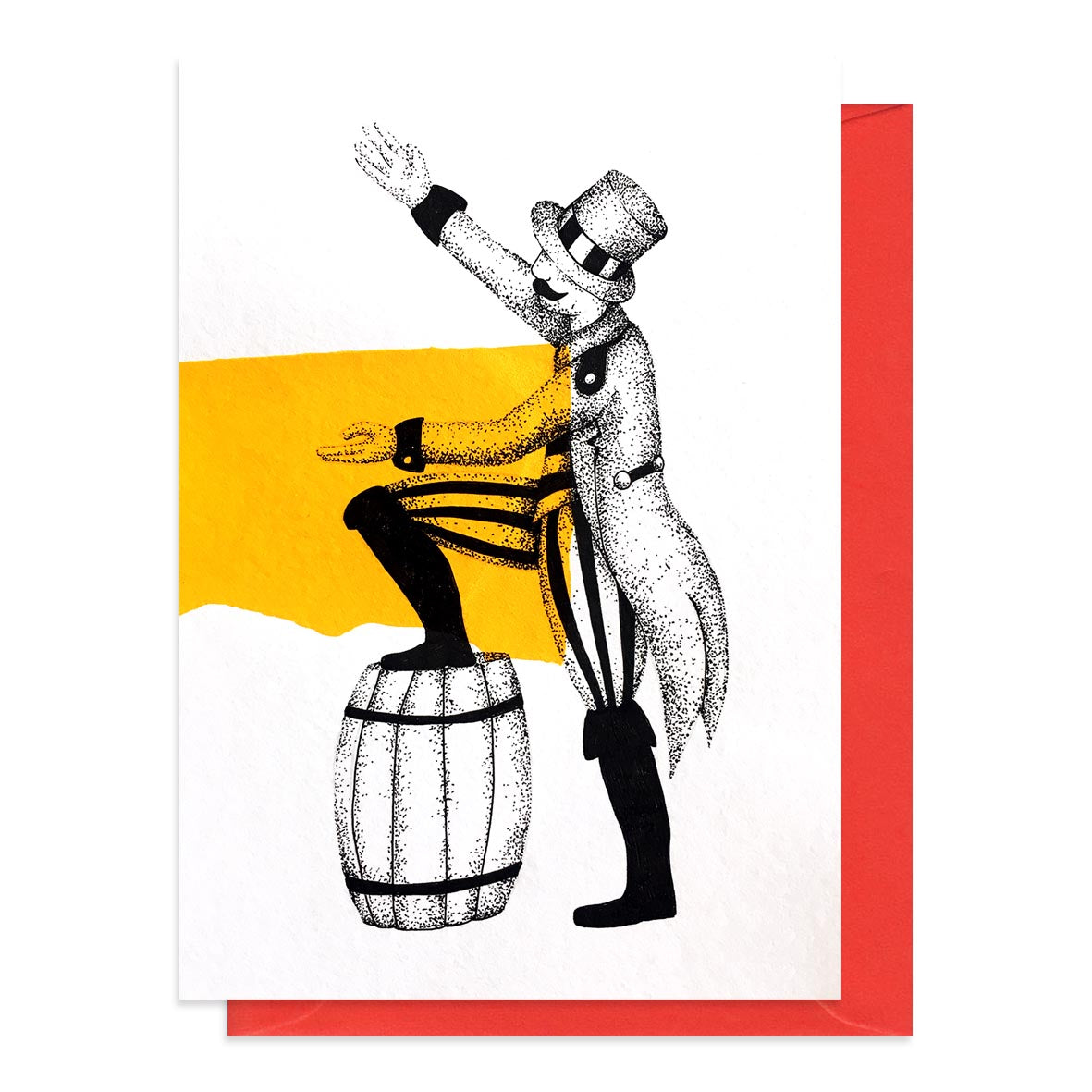 Greetings card featuring an illustration of a circus ringmaster