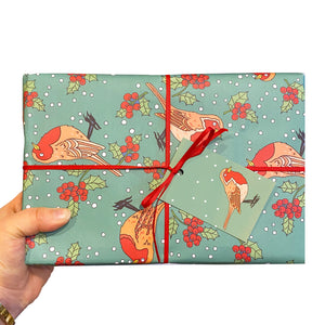Robin Christmas Wrapping Paper and Gift Tags