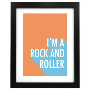 Rock and Roller Risograph print in orange and blue