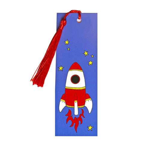 Blue rocket bookmark with tassel