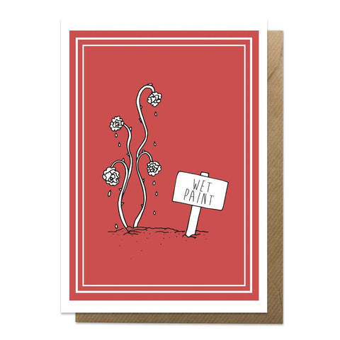 Red greeting card with an illustration of painted roses