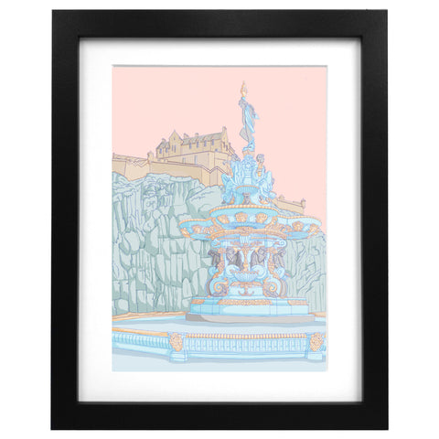 Ross Fountain and Edinburgh Castle Art Print