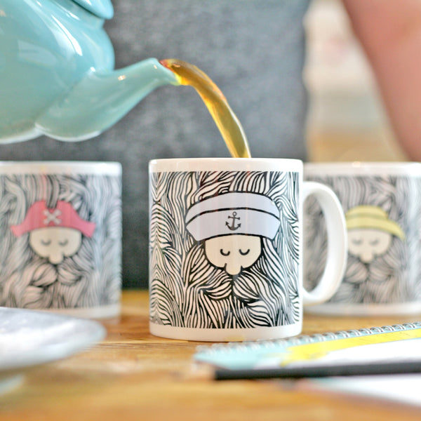 Lifestyle photo of sailor mug set