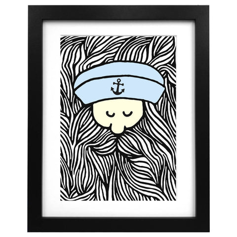 A3 art print with an illustration of a sailor with a huge beard