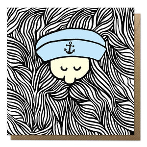 Greeting card with an illustration of a sailor with a giant beard