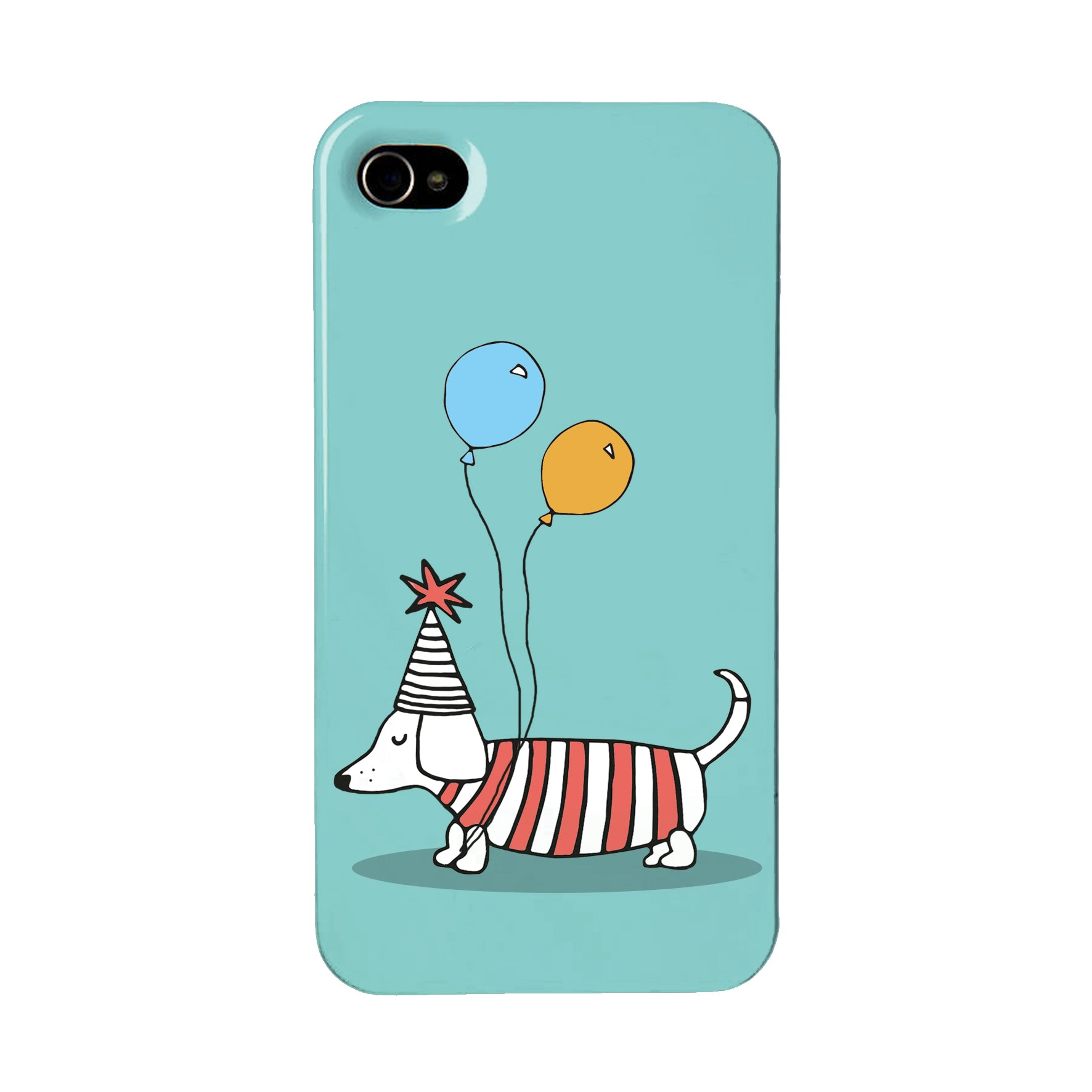 Green phone case with an illustration of a dachshund