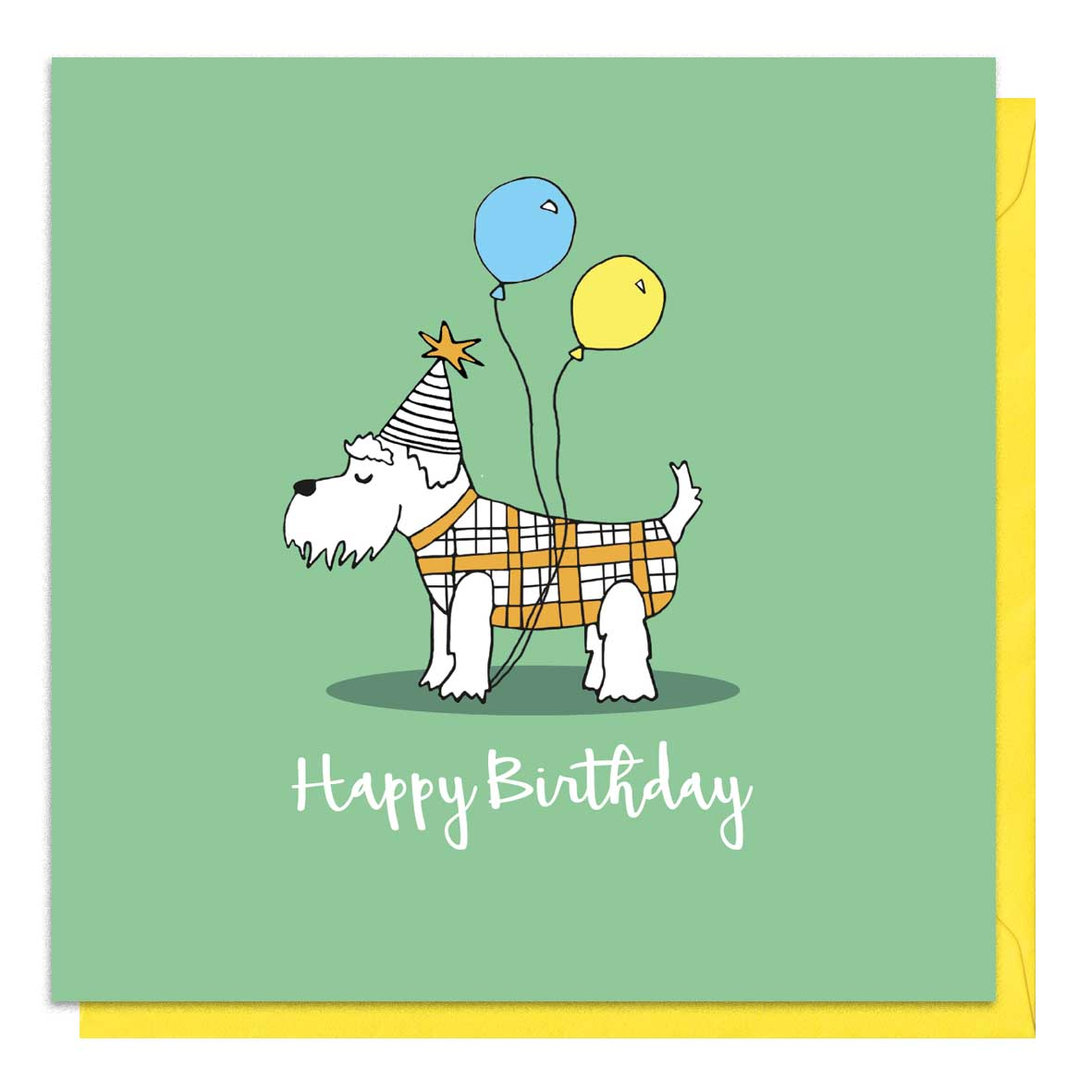Green birthday card with an illustration of a schnauzer