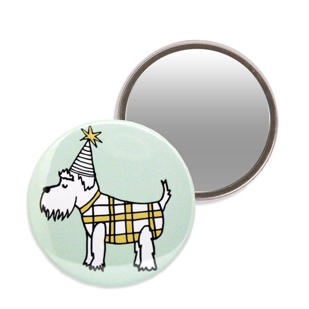 Green makeup mirror with an illustration of a schnauzer