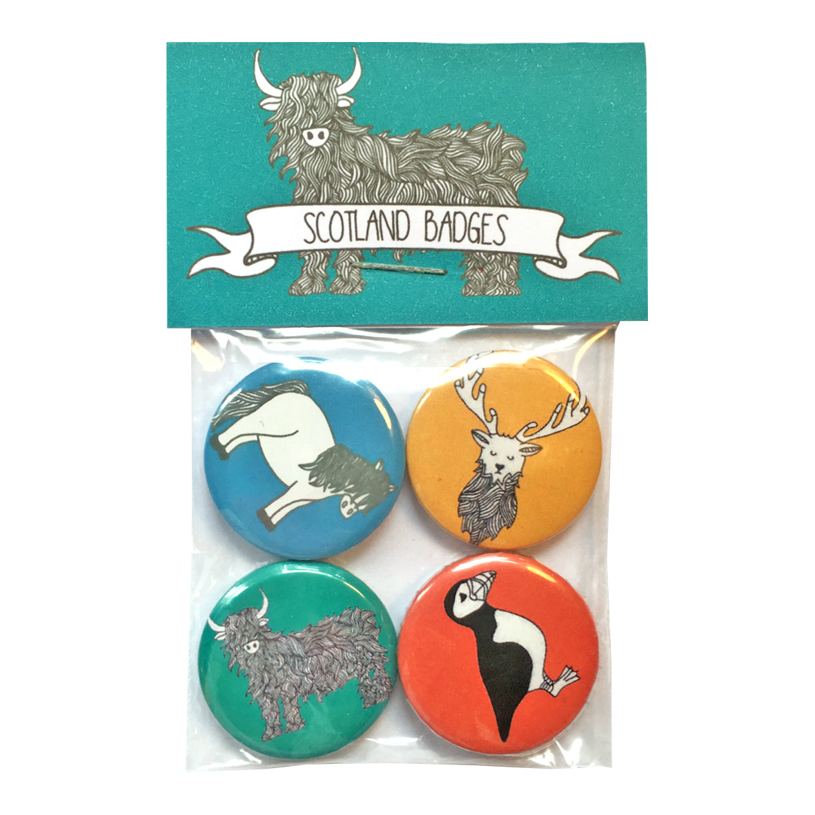 Packet containing four Scottish themed badges