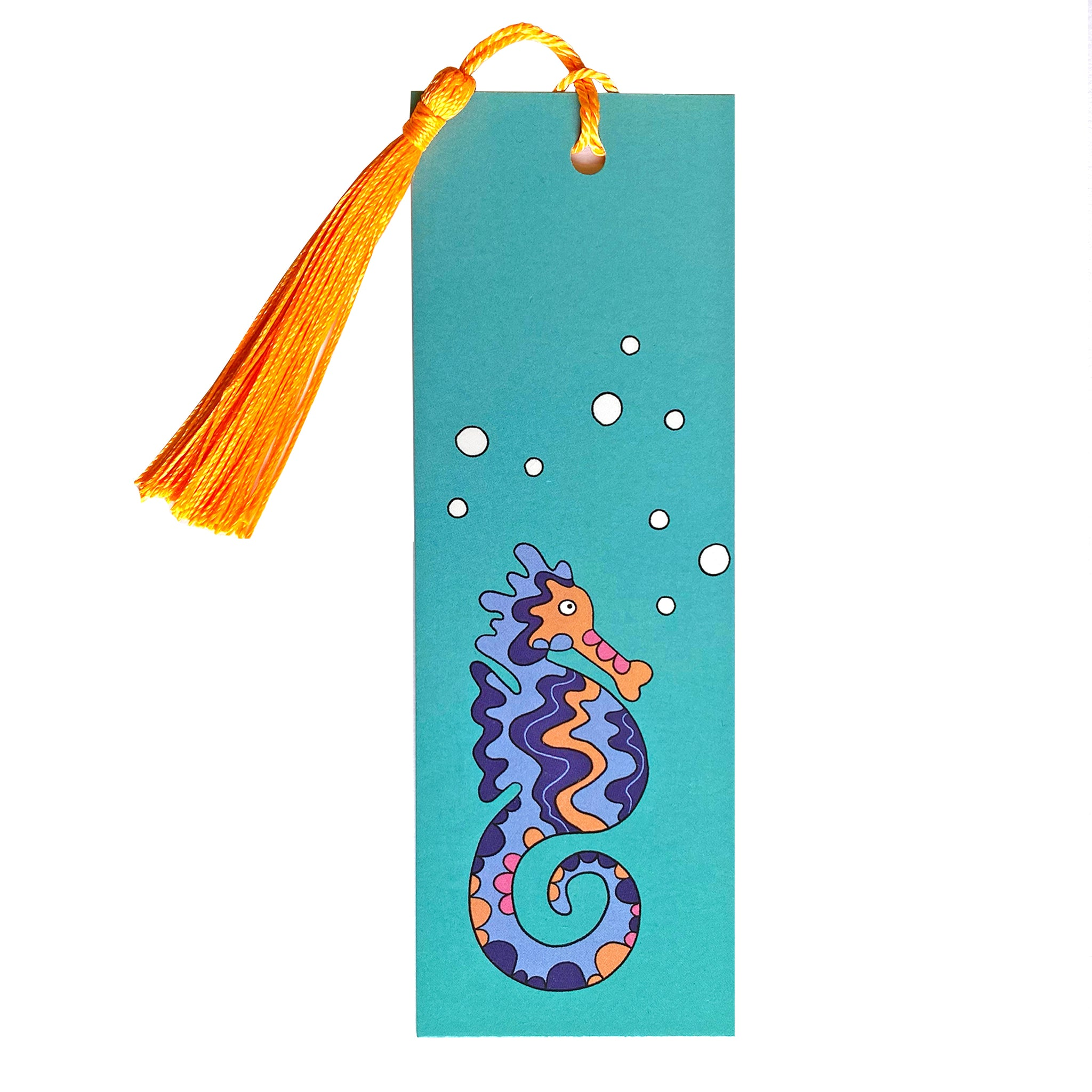 Blue seahorse bookmark with tassel