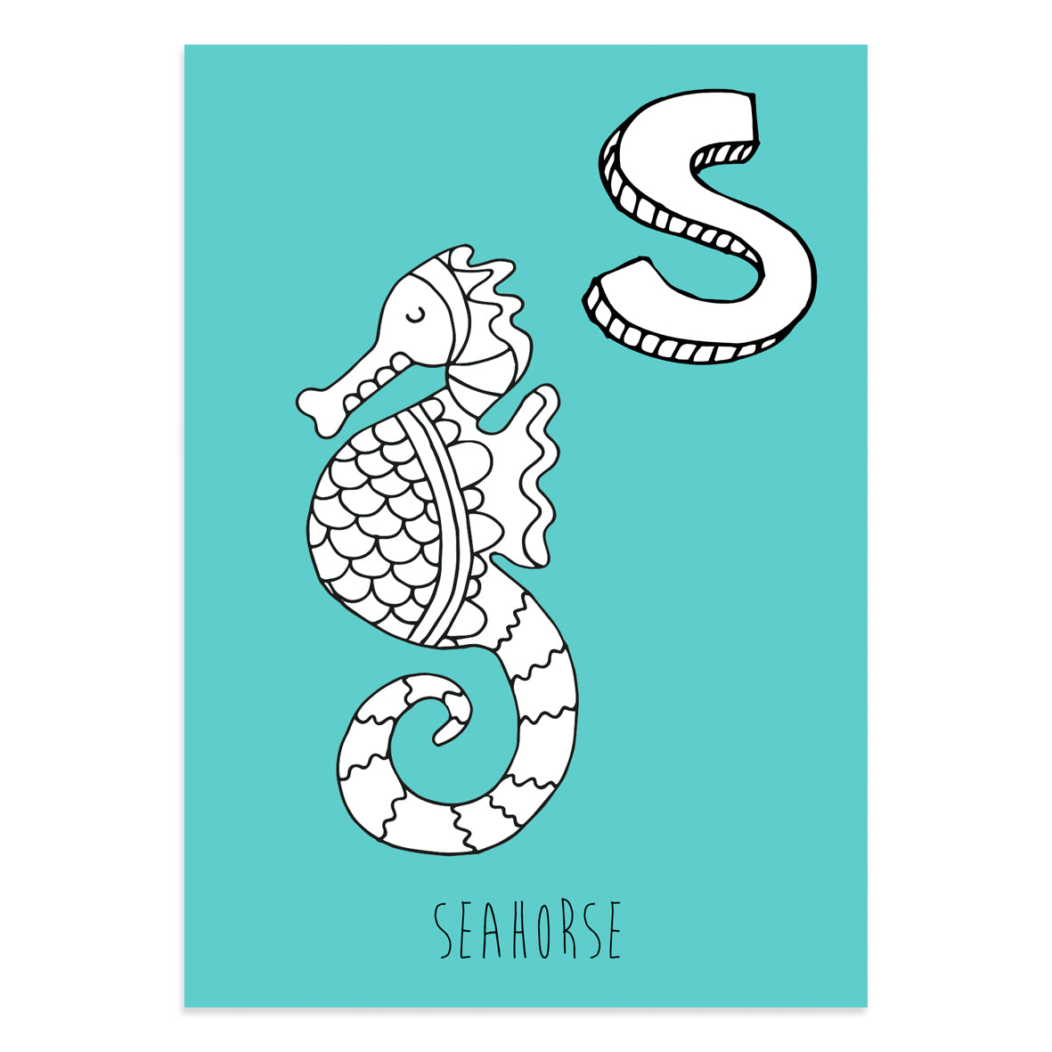 Turquoise postcard featuring the letter S for seahorse