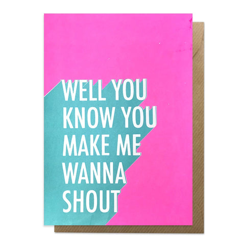 Shout lyrics greeting card