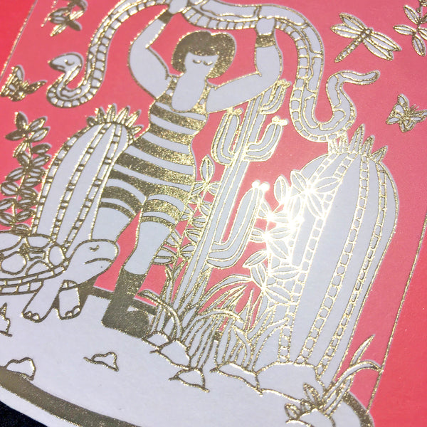 Close up detail of gold foil on pink bell jar card